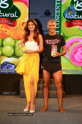 Shilpa Shetty And Milind Soman At Launch Of B Natural Juice