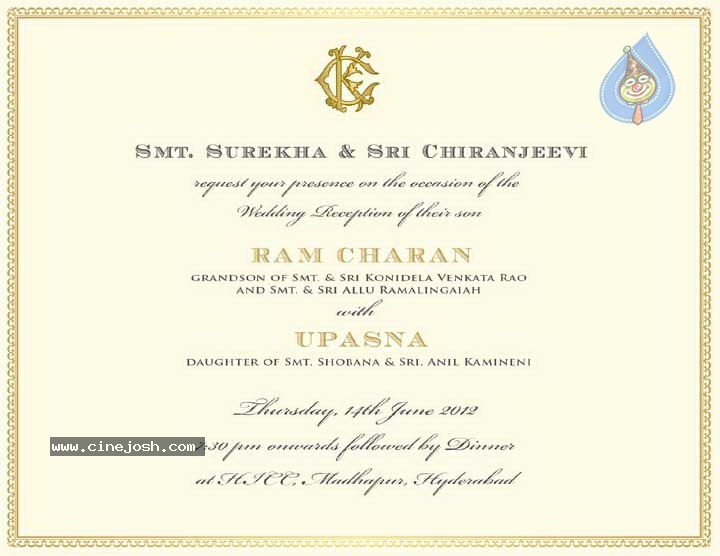 Ram Charan Wedding Invitation Photo 4 Of 4