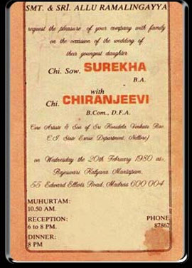 This Is Chiranjeevi's Wedding Card