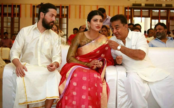 Michael Corsale, Shruti Haasan and Kamal Haasan