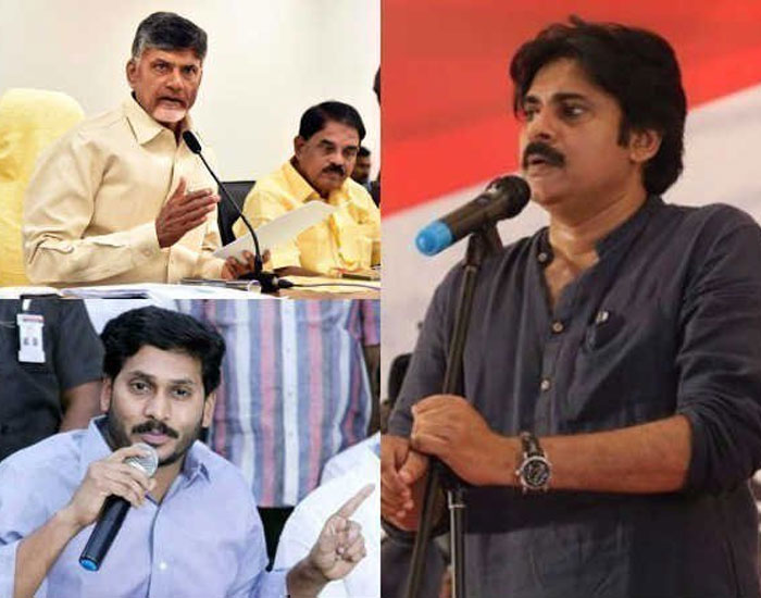 Pawan Kalyan with Chandrababu and YS Jagan