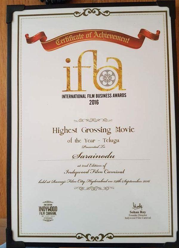 Sarrainodu Gets Heghest Grossing Film Certificate