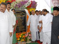 Dr Y S Rajasekhara Reddy inaugurating projects