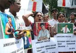SFI protest demonstration against the humiliation of Sharukh