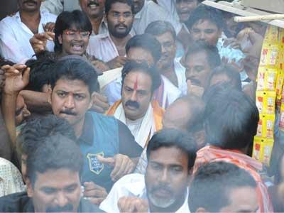 Balakrishna beats his fan in Kalahasthi.