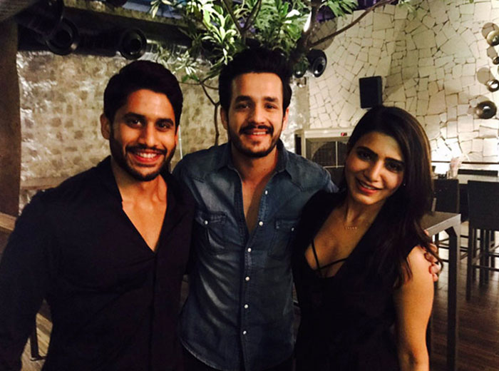 Akhil with Naga Chaitanya and Samantha