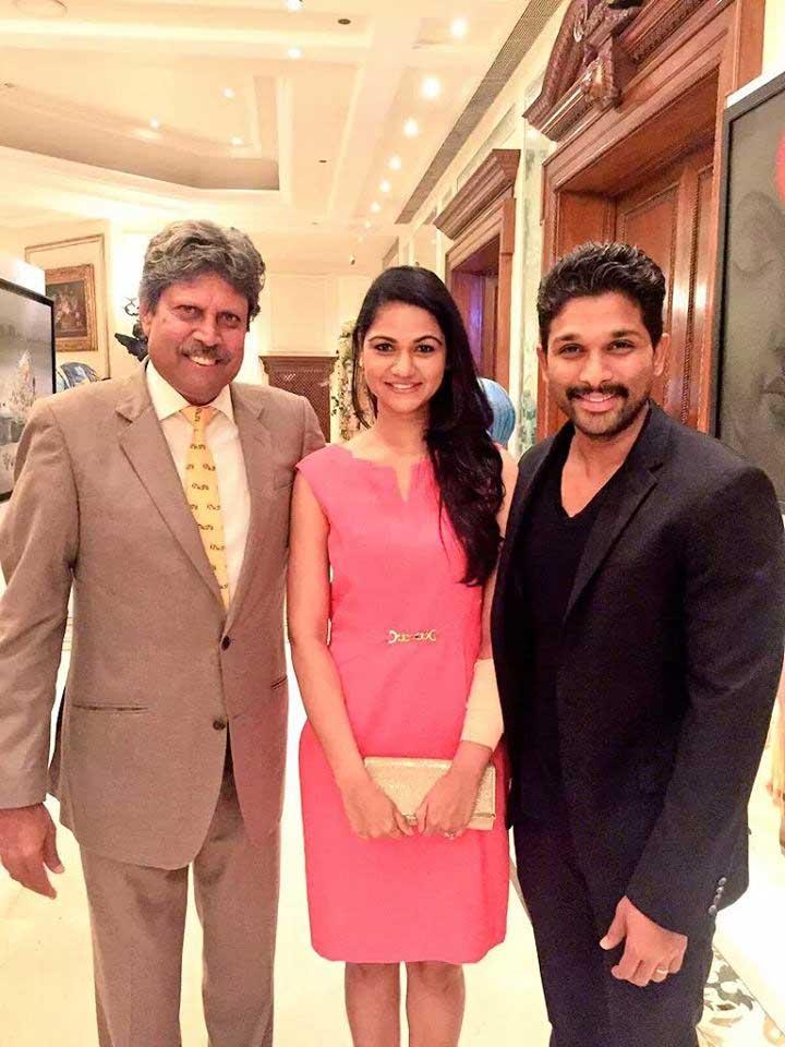 Allu Arjun and Sneha Meet Kapil Dev