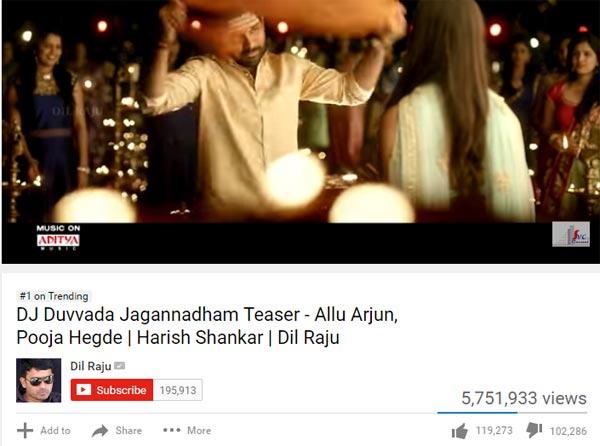 Allu Arjun DJ Teaser Hatred Record