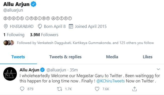 Allu Arjun Welcomes Chiranjeevi To Twitter World