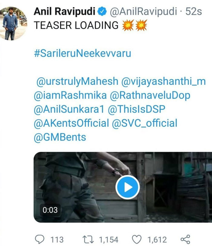 Anil Ravipudi Deletes a Tweet on Sarileru Neekevvaru