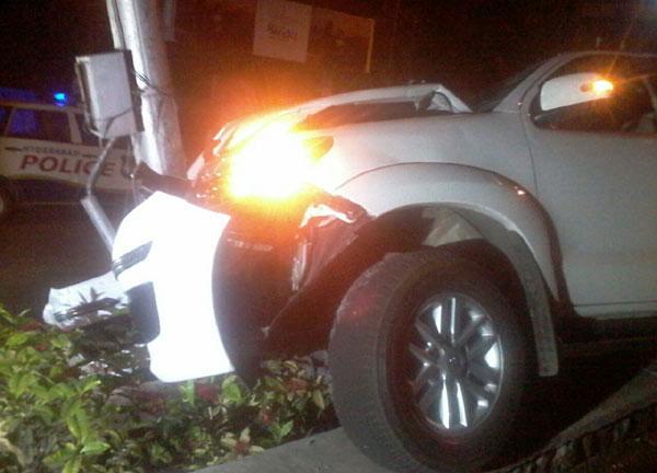 Balakrishna's Car Hits an Electric Pole