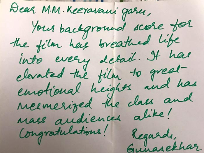 Gunasekhar Letter To MM Keeravani