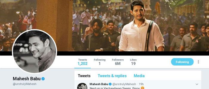 Mahesh Babu's Twitter Followers 6 Million