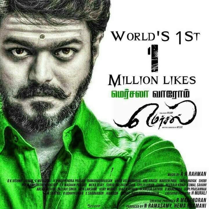 Mersal Teaser Likes Clocks at 1M