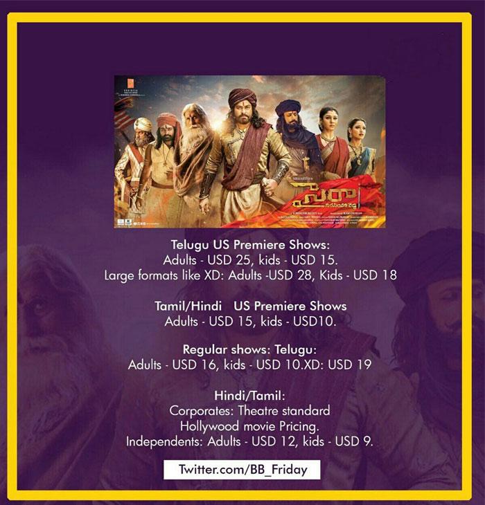 Sye Raa US Ticket Princes Confirmed