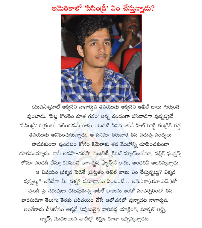 akhil,nagarjuna son,nagarjuna son akhil in usa,higher studies,sisindri movie,akhil movie soon,naga chaitanya,akhil introducting soon,akhil movies,akhil hero,nagarjuna son akhil in us  akhil,nagarjuna son,nagarjuna son akhil in usa,higher studies,sisindri movie,akhil movie soon,naga chaitanya,akhil introducting soon,akhil movies,akhil hero,nagarjuna son akhil in us