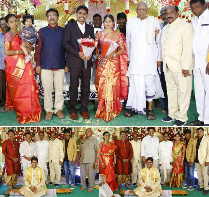 ramasatyanarayana,grand daughter,tanuja marriage,dasari manoj,celebrities,vv vinayak,rosaiah  రామసత్యనారాయణ మనవరాలు వివాహంలో సెలబ్రిటీల సందడి