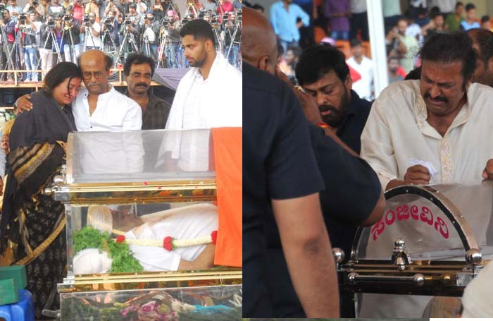 chiranjeevi,mohan babu,emotional crying,ambarish demise,rajinikanth,sumalatha  చిరు, బాబు.. దు:ఖాన్ని ఆపుకోలేకపోయారు
