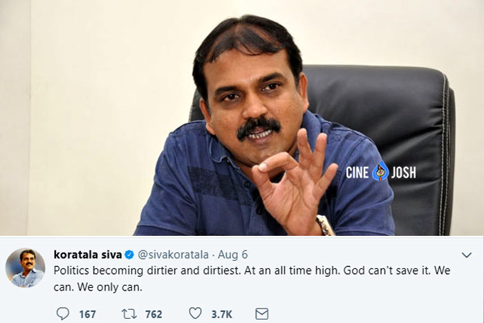 director koratala siva,mahesh babu,bharat ane nenu movie,siva post in twitter about politics  బాబోయ్.. ఇలా ట్వీట్ చేశాడు..!