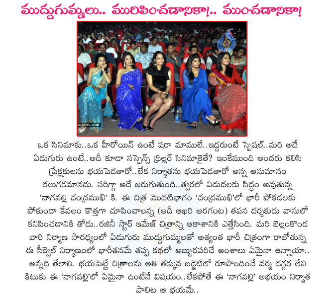 nagavalli,venkatesh,p vasu director,nagavalli telugu movie,bellamkonda suresh producer,anushka,richa gangopadhyay,kamalinee mukherjee,vimala raman,poonam kaur,shraddha das,suja,hot actress in nagavalli movie,nagavalli cast and crew,nagavalli movie news  nagavalli, venkatesh, p vasu director, nagavalli telugu movie, bellamkonda suresh producer, anushka, richa gangopadhyay, kamalinee mukherjee, vimala raman, poonam kaur, shraddha das, suja, hot actress in nagavalli movie, nagavalli cast and crew, nagavalli movie news