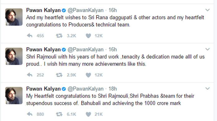 pawan kalyan,baahubali the conclusion,ss rajamouli,pawan kalyan praises baahubali 2,baahubali 2,prabhas  పవన్ ఎంత గౌరవంగా ప్రశంసించాడో...!